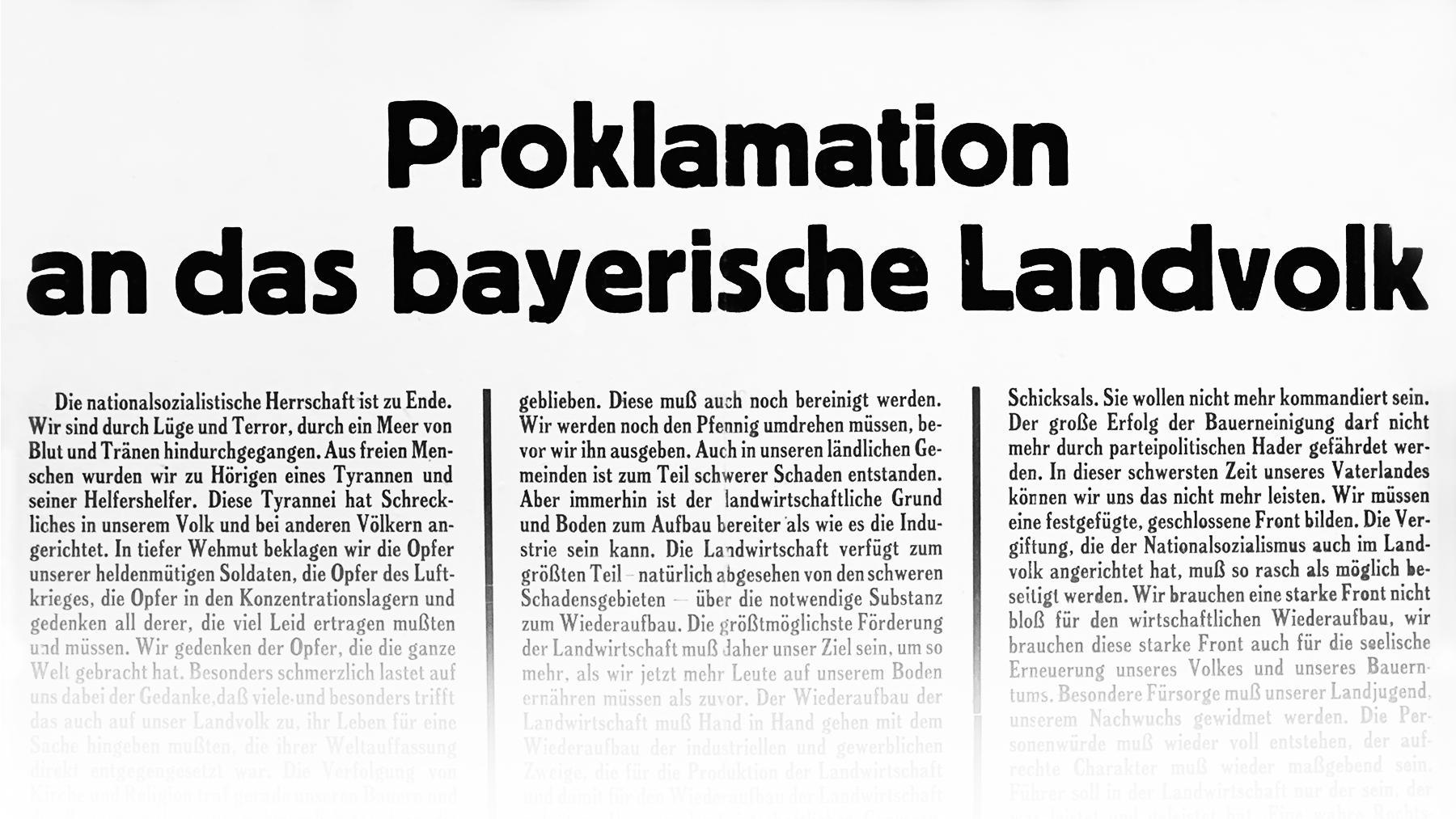 Proklamation des Bayerischen Bauernverbandes 1945